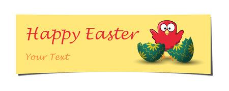 uovo rotto: easter giallo arricciato angolo rosso banner con pollo agitando dietro uovo rotto