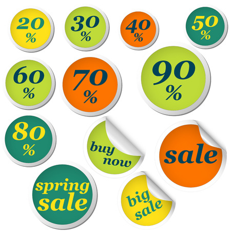 spring roll: collection of colored circles for spring with text and discounts