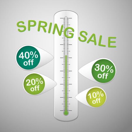 white thermometer with text spring sale and with four green pins promotion discounts Vector