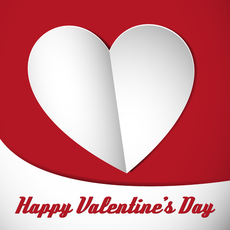 happy valentines heart card with white shadowed heart on the background Vector