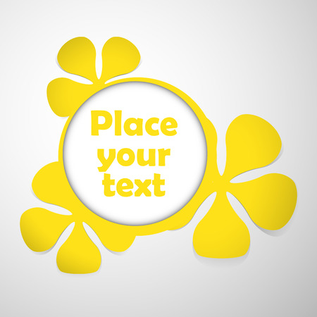 yellow floral theme plastic round frame with place for text Vector