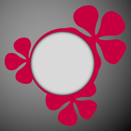 purple floral theme flat round frame on the dark background with place for text  Vector