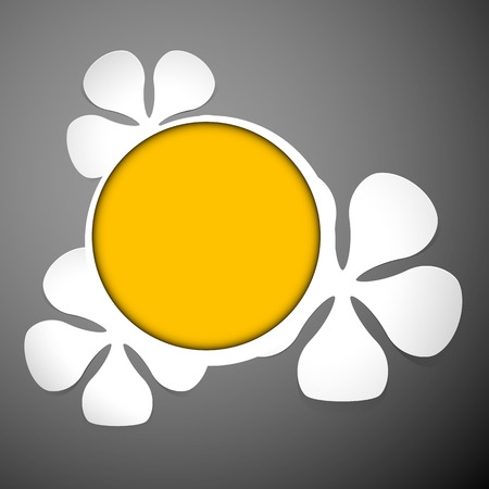 white floral theme plastic round frame with yellow on the dark background with place for text  Vector