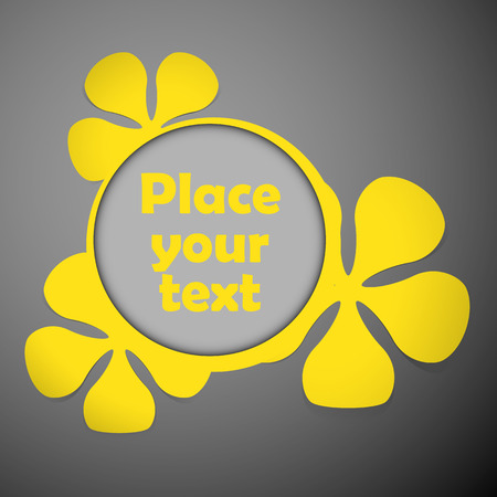 yellow floral theme plastic round frame on the dark background with place for text  Vector