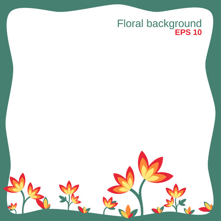 growing up: floral background with growing up flowers in the green frame