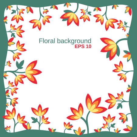 growing up: floral background with growing up flowers in the green frame Illustration