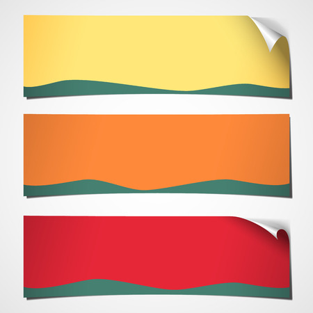 set of three blank banners with curled corner