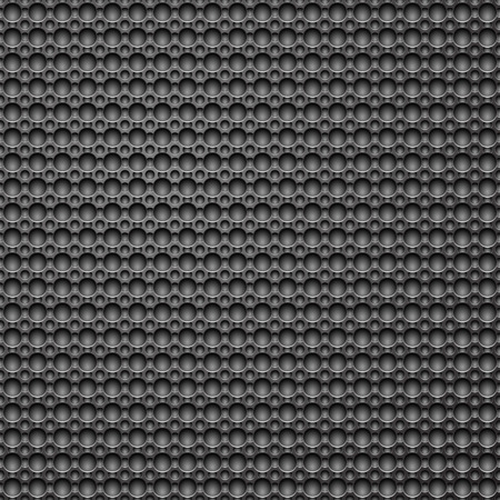 Dark grey metallic pattern background with shadowed holes.  Vector