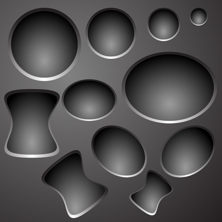 Dark grey metallic pattern objects with shadowed holes.  Vector