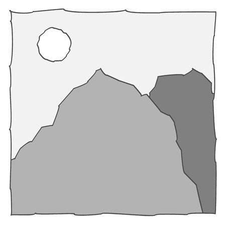 grey icon of the mountains. Vector illustration. Vector