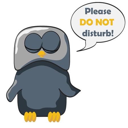 Sleeping bird with a text do not disturb. Vector illustration. Illustration
