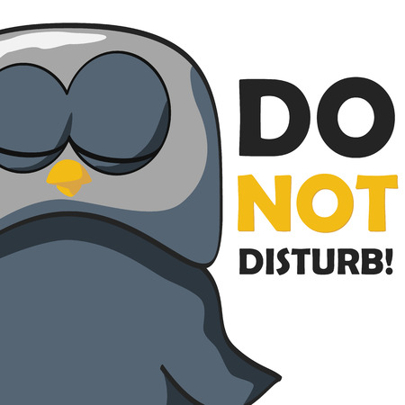 Sleeping bird with a text do not disturb. Vector illustration. Vector