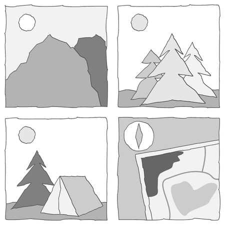 black and white icons with outdoor activity (mountain, tree, camping, map). Vector illustration. Vector