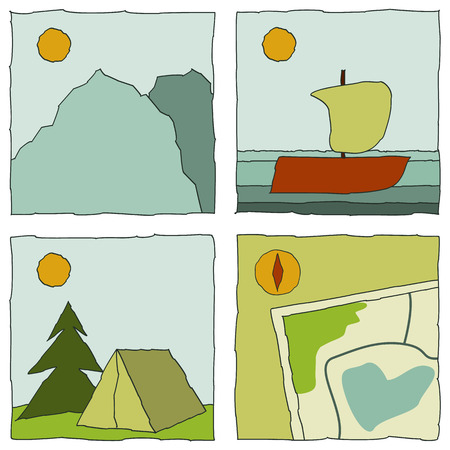 color icons with outdoor activity (mountain, yachting, camping, map). Vector illustration. Vector