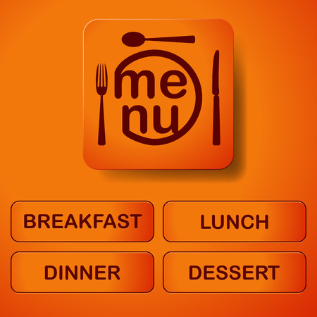 Orange buttons with text menu, breakfast, lunch, dessert and dinner. Vector illustration. Vector