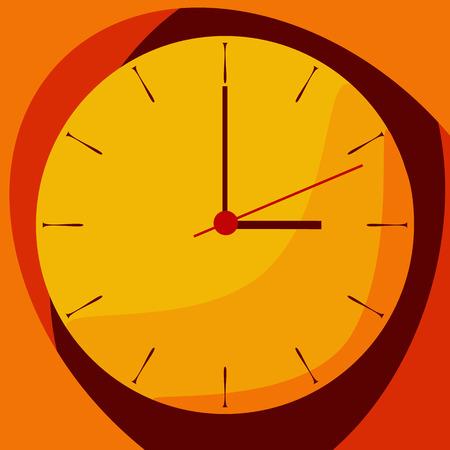 shadowed: Flat shadowed yellow clock with text coming soon. Vector illustration.