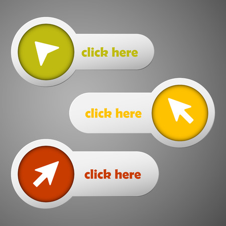 click here: Three color circle and strip labels collection with arrows and text click here ready to edit. Vector illustration.