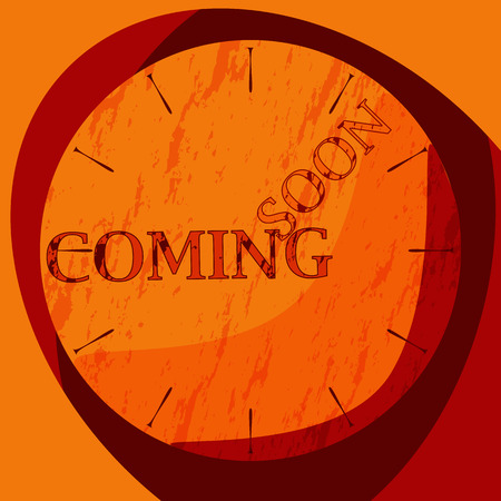 shadowed: Flat shadowed red and orange clock with with grunge background text coming soon. Vector illustration.
