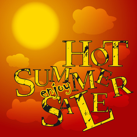 Red, orange and yellow colored poster with clouds and grunge text hot summer. Vector illustration. Vector