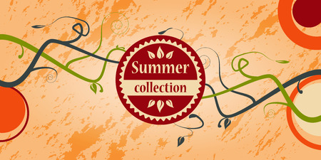 Summer colored vintage with green branches. Vector illustration. Vector