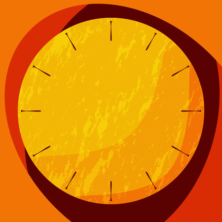 shadowed: Flat shadowed red and orange clock with grunge effect. Vector illustration.