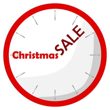 shadowed: Flat shadowed red clock with text christmas sale on the white background. Vector illustration.