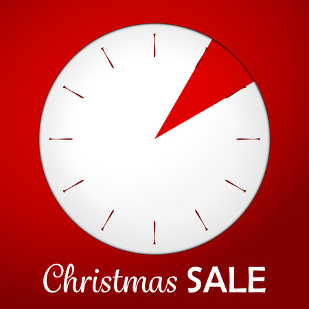 Plastic shadowed clock with text christmas sale on the red background. Vector illustration. Vector