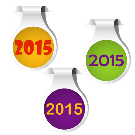 shadowed: Side bookmarks green, yellow and purple shadowed on the white background happy new year. Vector illustration.