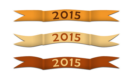 Gold colored curled strips for celebrating of the happy new year 2015. Vector illustration. Vector