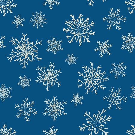 Blue colored winter background with snowflakes collection. Vector illustration. Vector