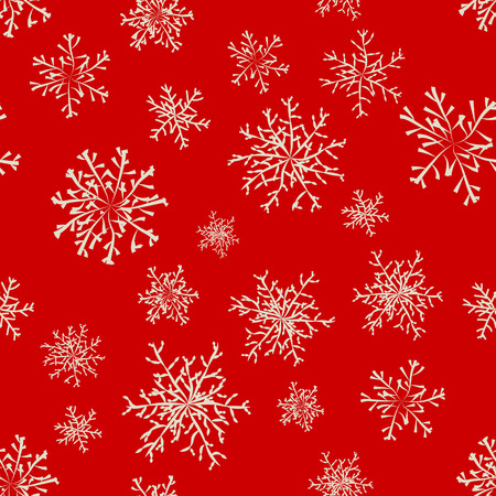 Red colored winter background with snowflakes collection. Vector illustration. Vector