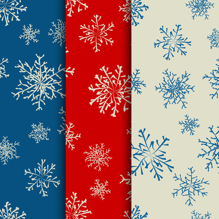 Blue, red and white colored winter background with snowflakes collection. Vector illustration. Vector
