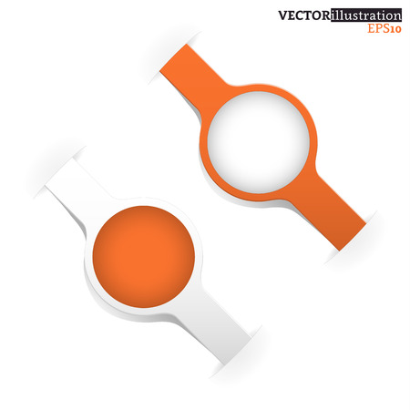 shadowed: Small white and orange shadowed label like a watch with place for text. Vector illustration. Illustration