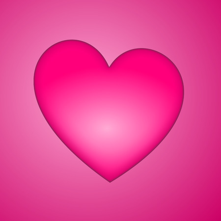 Big pink glossy heart on the pink background. Vector illustration.