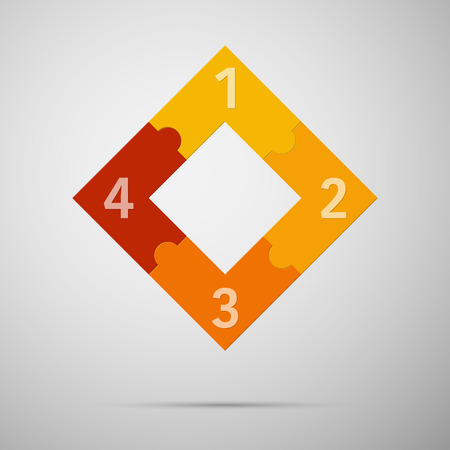 Orange and red colored puzzle infographic concept with numbers. Vector illustrationl. Illusztráció