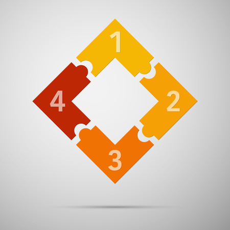 Orange and red colored puzzle infographic concept with numbers. Vector illustrationl. Ilustrace