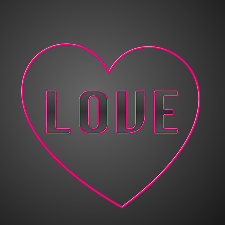 Pink neon text with neon heart on the dark grey background. Vector illustration.