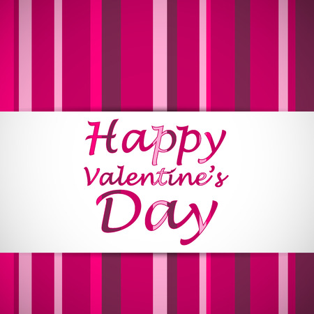 Happy valentines text card with strips on the background. Vector illustration.