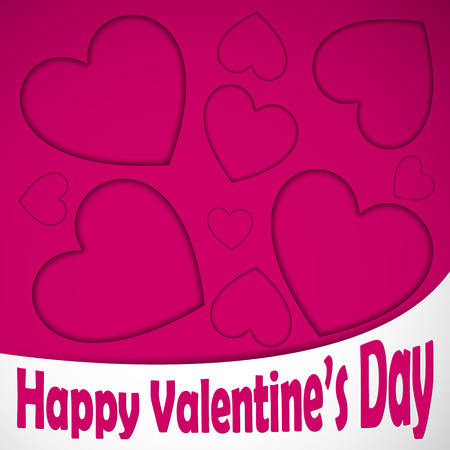 Happy valentines heart card with text, hearts pattern on the pink background. Vector illustration. Ilustrace