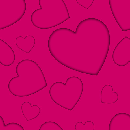 Heart pattern card on the pink background. Vector illustration. Ilustrace