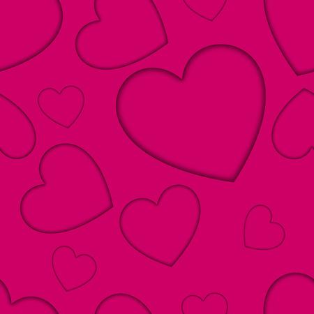 Heart pattern card on the pink background. Vector illustration. Illusztráció