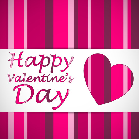Happy valentines heart card with strips on the background and text. Vector illustration.