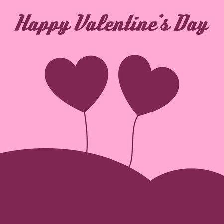 Happy valentines heart card on the light pink background and text. Vector illustration. Ilustrace