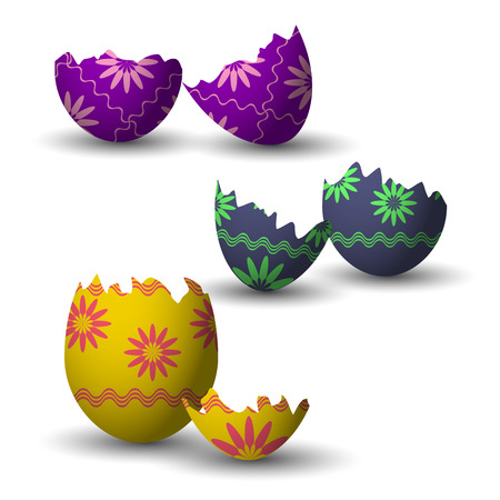chicken and egg: Broken easter eggs collection with decoration. Vector illustration. Illustration