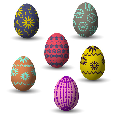 Collection of small easter colored eggs with decor and shadow. Vector illustration. Illusztráció