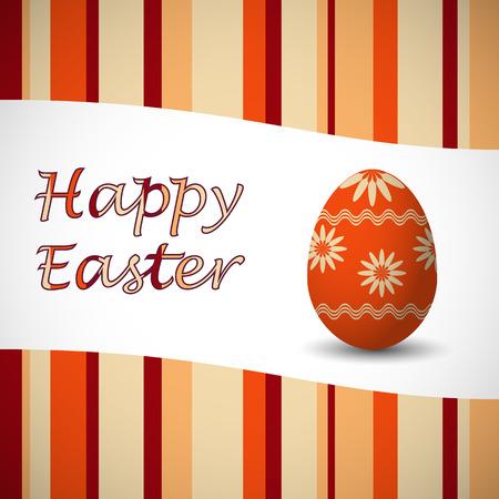 Orange colored happy easter stripy card and art drowed easter egg. Vector illustration.