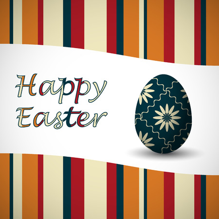 Colored happy easter stripy card and art drowed easter egg. Vector illustration. Ilustrace