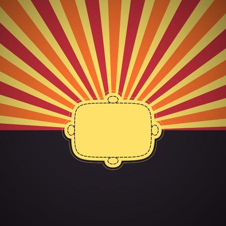 A color card with sun stripes and text field. Vector illustration. Illusztráció