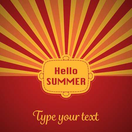A red colored summer card with sun stripes and field for text. Vector illustration.