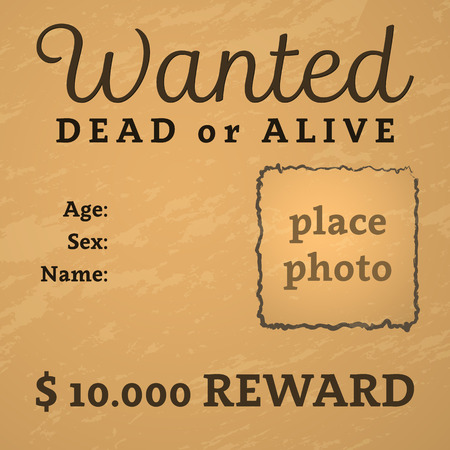 Grunge wanted poster with text and place for photo. Vector illustration.